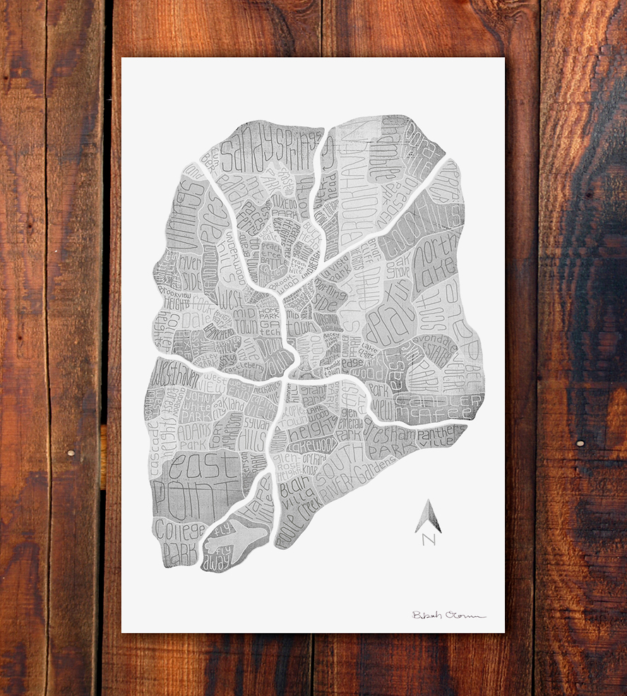 Atlanta Neighborhood Maps Print by Bekah O'Connor.