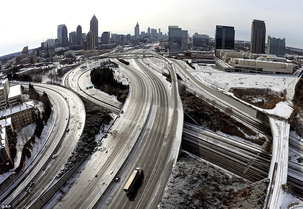 Atlanta's roads laid bare by an inch of ice. Source: AP