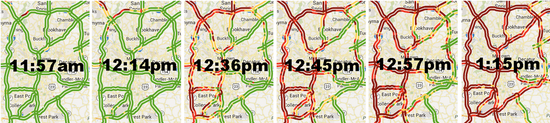 Starting a little after noon, Atlanta's reliance on roads got the better of us. The East side remained relatively clear until Emory let out at 1 pm.
