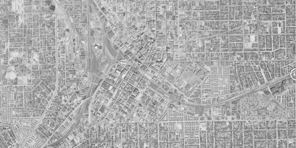 Downtown Atlanta before the Connector. Source: Institute for Quality Communities, via Curbed Atlanta.