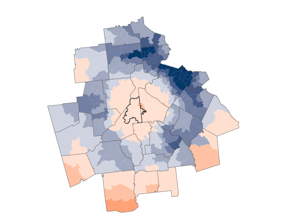 Proximity to jobs increased in Atlanta's suburbs between 2000-2012 more than in the inner city. Source: Brookings.