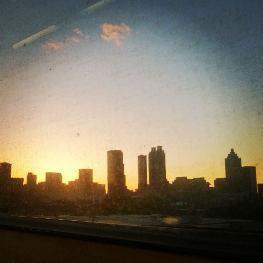 View of the Atlanta skyline from an Eastbound train.