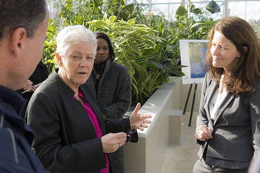 EPA Administrator Gina McCarthy (left) with Director of the Emory Office of Sustainability Initiatives Ciannat Howett (right). Source: Emory Report, 9 February 2015.