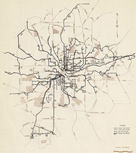 Atlanta's streetcars at their height, only a few years before their ultimate demise.