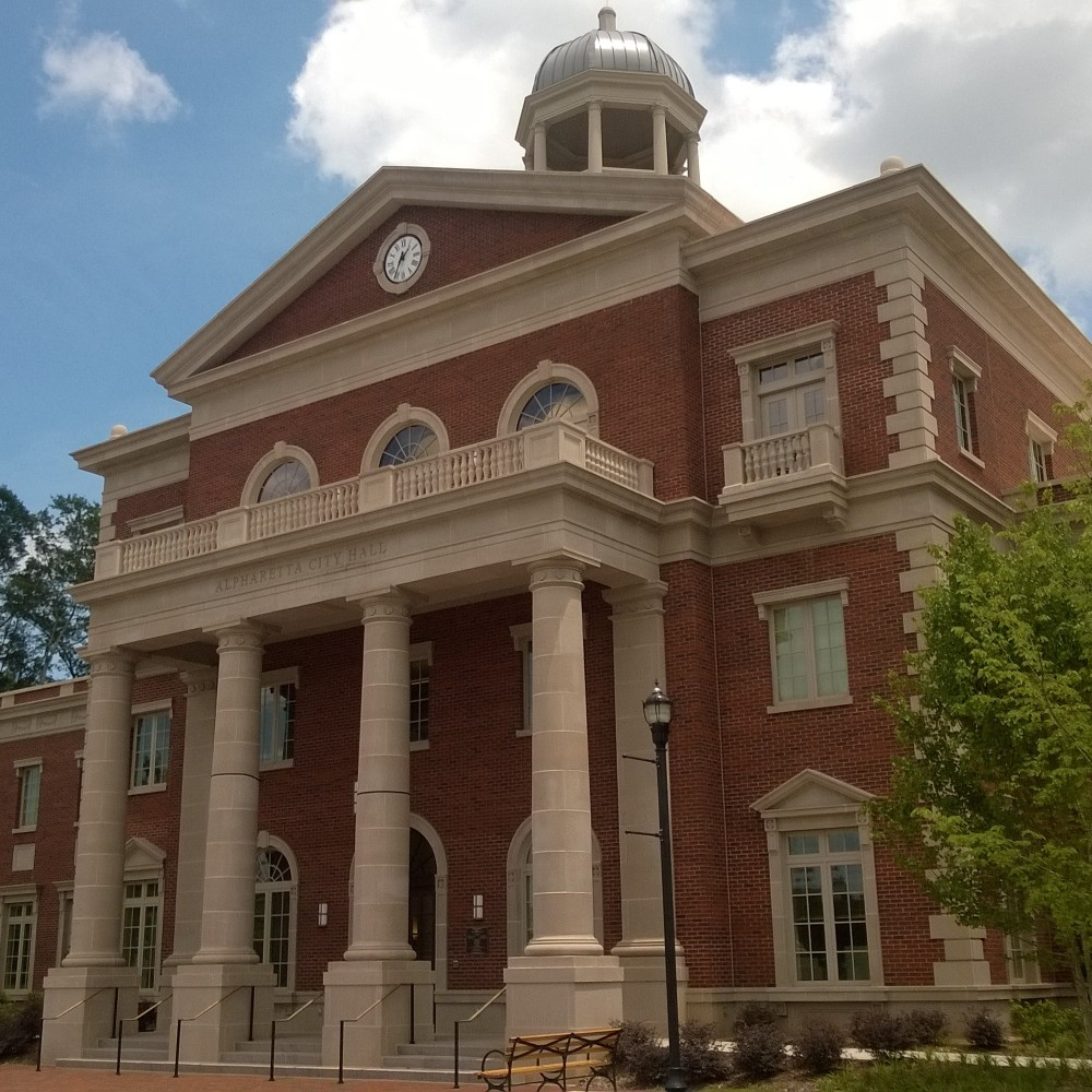 Alpharetta's new City Hall is classically modeled to give it that old-timey Southern town feel.